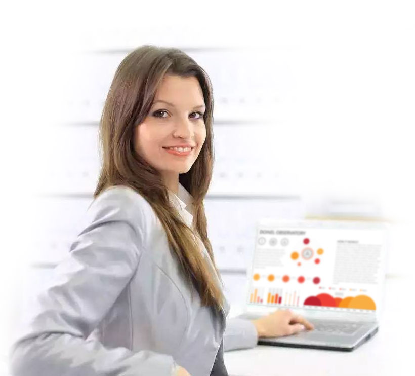 Girl with computer conducting data analysis